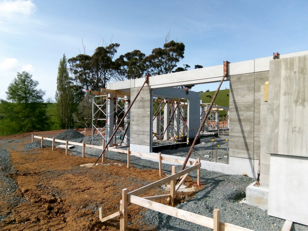 Residential house in early stages of construction at Matakana